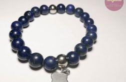 Bransoletka laspis lazuli i stal nierdzewna.