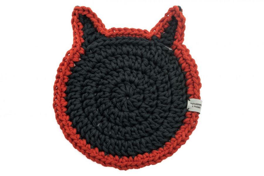 Podkładka pod talerz kot czarno czerwony
