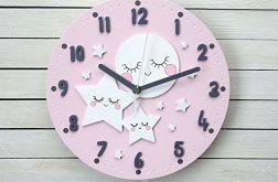 Zegar dla dziecka z księżycem i gwiazdkami