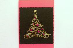 Kartka świąteczna- złota choinka