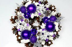 Mały wianek świąteczny biało-fioletowy