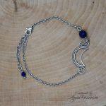 Bransoletka księżyc półksiężyc lapis lazuli  - Wykonana techniką wire wrapping ze stali chirurgicznej
