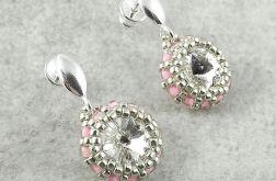 Kolczyki Beaded Swarovski Elements - Crystal & Pink