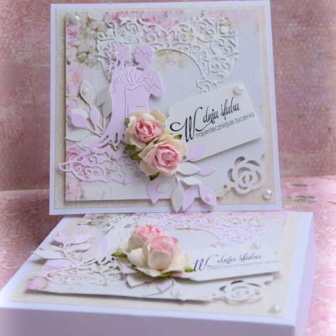 Kartka  w pudełku Pudrowy Róż
