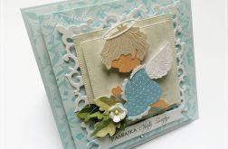 Kartka na Chrzest w błękicie-z Aniołkiem