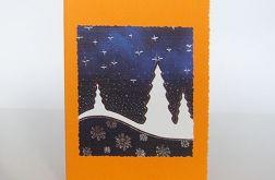 Kartka świąteczna oranż  z choinkami 2