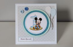 Kartka na Roczek Myszka Miki baloniki