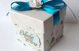Kartka-pudełko ślubne turkusowe