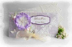 Kopertówka ślubna biało fioletowa