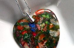 Kolorowe serce, jaspis cętkowany, srebro