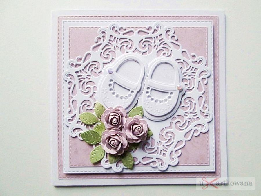 Kartka PAMIĄTKA CHRZTU z bucikami #14 /Z - Różowo-biała kartka na Chrzest Święty