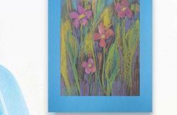 Rysunek kwiaty na niebieskim tle nr 9 szkic