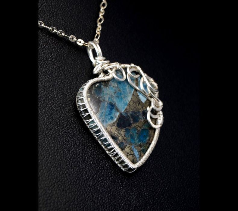 Srebrny wisior z pirtem z kyanitem serce - wisior wire wrapped ze srebra