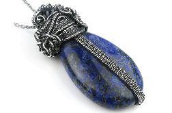 Duży wisior ze srebra z agatem i szafirem