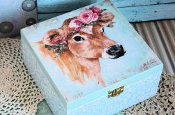 Pudełko drewniane - Romantyczna krówka