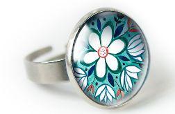 Green folk pierścionek z ilustracją