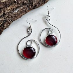 Kolczyki Zawijas Tiffany czerwony