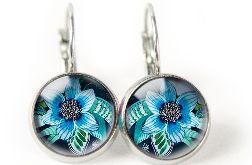 blue flower kolczyki wiszące z ilustracją