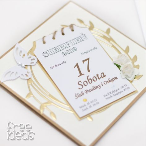 Kartka z kalendarza * kartka ślubna - KS1922