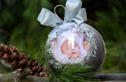 Bombka ze zdjęciem - srebrna z mikołajem