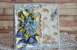 kartka urodzinowa niebieskie róże