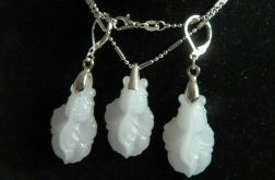 Jadeit biały, kamień spokoju zestaw biżuterii