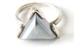 87 pierścionek vintage, srebrny, hematyt
