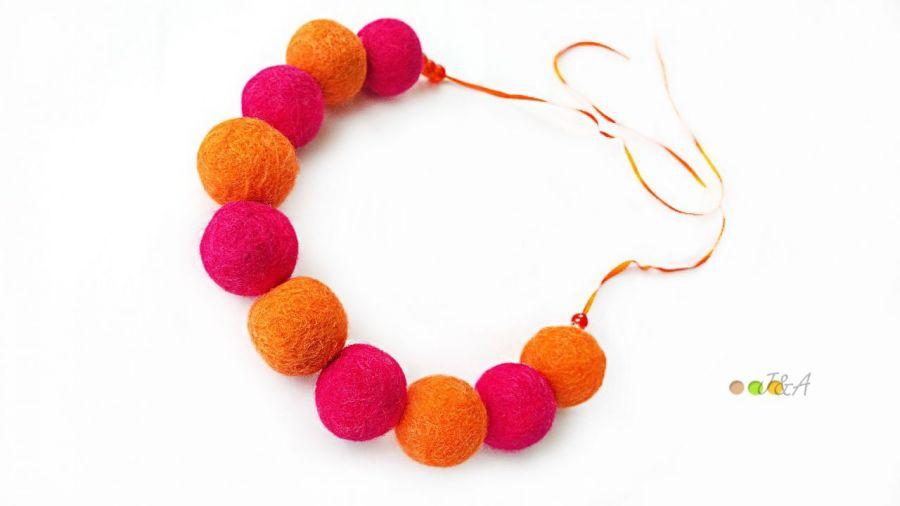 Komplet z filcu pomarańczowo różowy