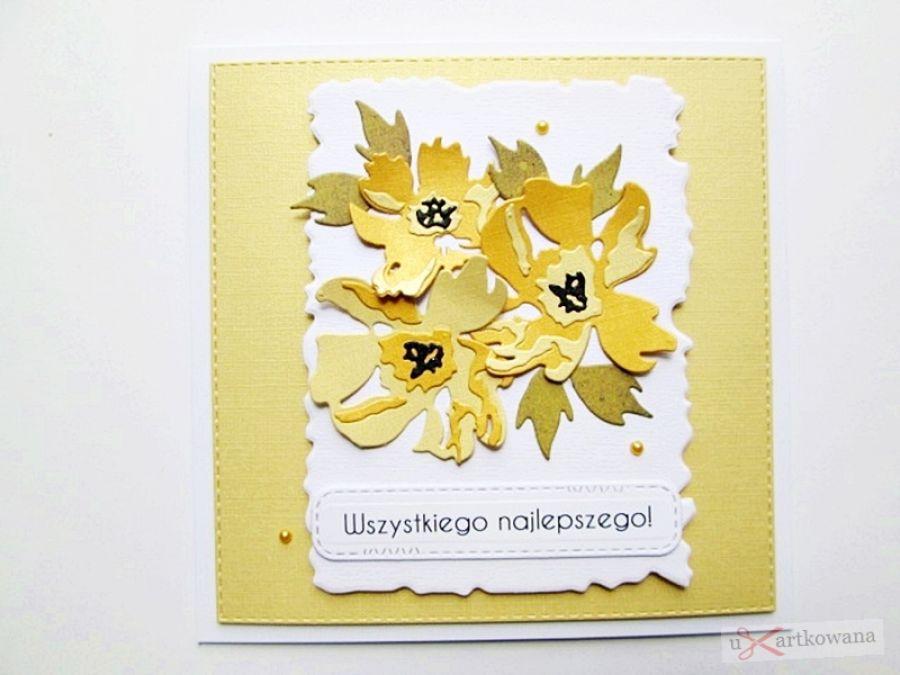 Kartka UNIWERSALNA z żółtymi kwiatami - Kartka Uniwersalna z żółtymi kwiatami