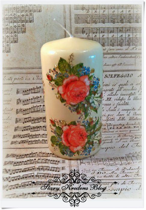 Zapachowa świeca decoupage w róże.