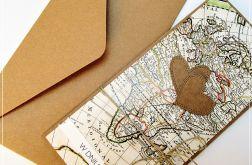 Kartka ślubna dla podróżników- z mapą