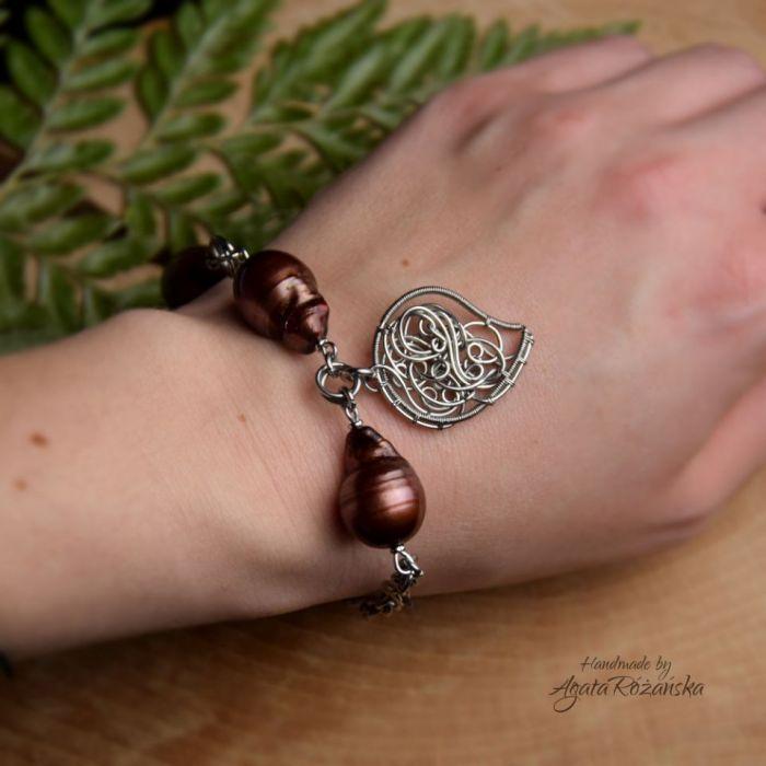 Bransoletka regulowana brązowe perły barokowe - Wykonana w pojedynczym egzemplarzu