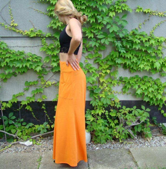 spódnica z kieszenią, pomarańczowa - bok spódnicy