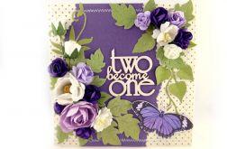 Kartka ślubna - fioletowa