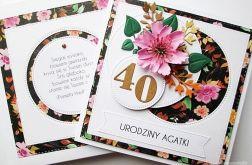 Kartka URODZINOWA z różowym kwiatem