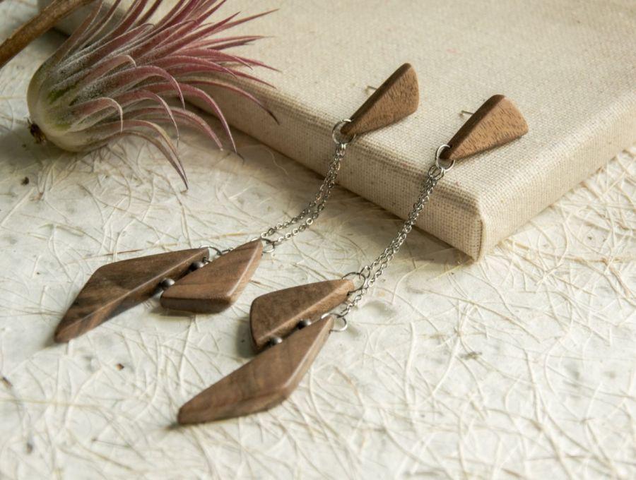 Długie wiszące kolczyki z drewna - biżuteria z drewna