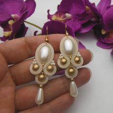 Ślubne kolczyki soutache sutasz perły ivory