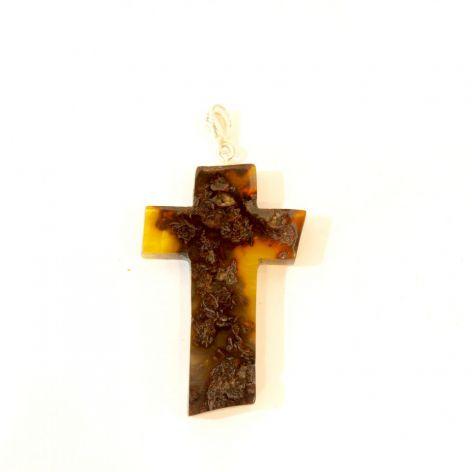 Bursztynowy wisiorek krzyż