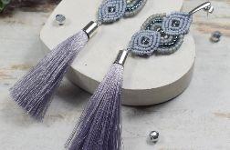 Długie kolczyki chwosty-szaro srebrne