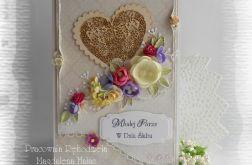 Kartka ślubna vintage z sercem