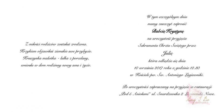 Zaproszenie na Chrzest Święty Buciki - Wnętrze Zaproszenia