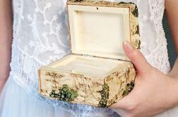 Leśne pudełko na obrączki kora i porosty