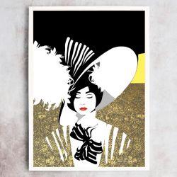 Dama w kapeluszu, autorski plakat, sygnowany