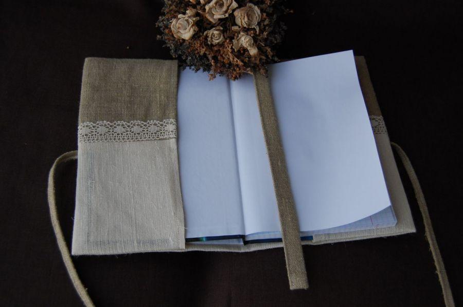 Zapiski lniane - haftowany notes
