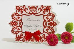 Zaproszenie na ślub z ornamentem kolor czerwony