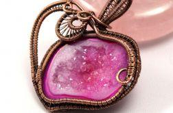 Agat miedziany wisior z geodą agatu róż serce
