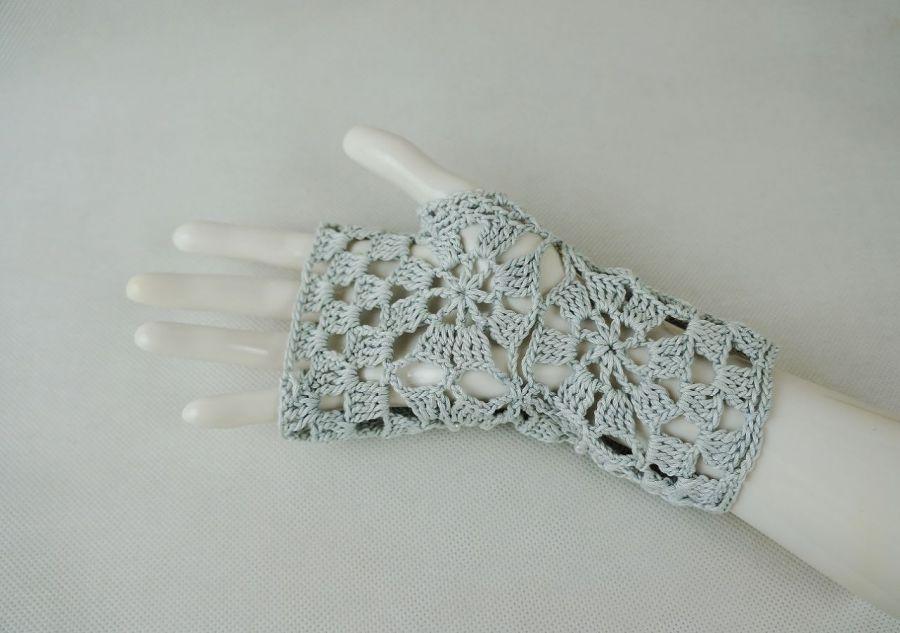 Rękawiczki, mitenki popielate - Mitenki rękodzieło