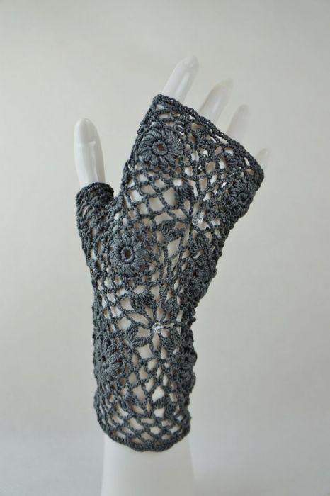 Rękawiczki, mitenki szydełkowe grafit
