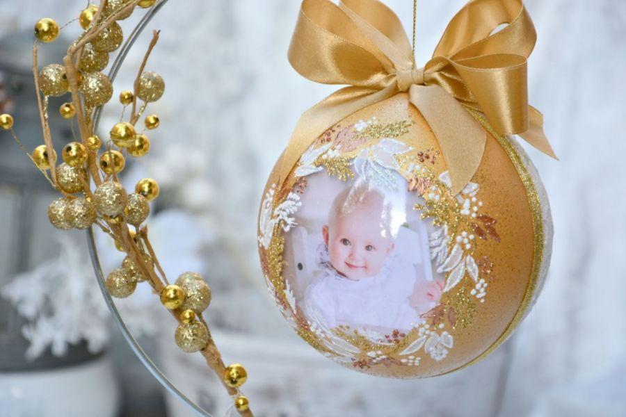 Bombka ze zdjęciem - złota z aniołkami