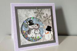 Kartka Boże Narodzenie handmade bałwanki shak